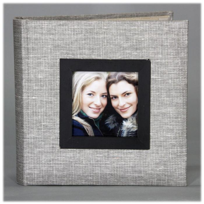 Nielsen Gray Burlap Fabric 4x6 Photo Album- PA03FGY | Frame It Waban Gallery