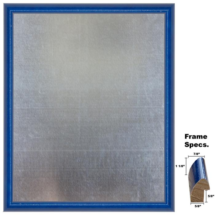 Framed Galvanized Steel Magnet Board In A Glossy Blue Wood Frame