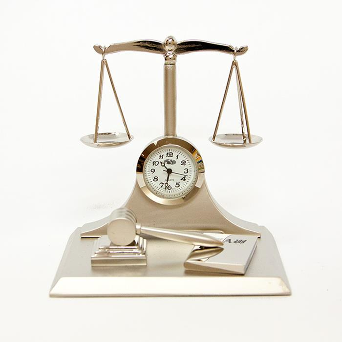 "Sanis ""Silver Scale of Justice"" Desk Clock CK371"