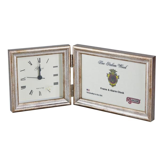 F.G. Galassi Silver 4x6 Hinged Ready Made wood Frame and 4x4 Desk Clock - style CF13844 | Frame It Waban Gallery