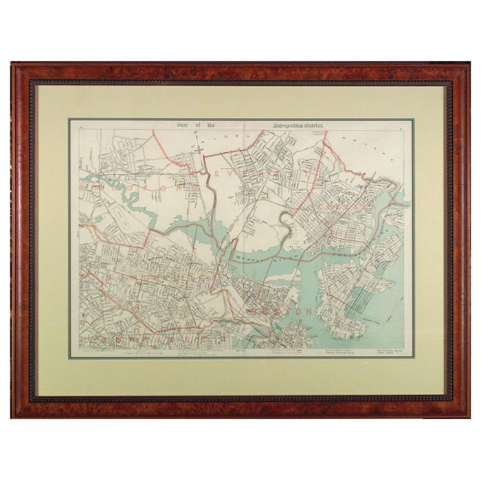 "framed Original Map ""Part of the Metropolitan District"" Boston by Goe H. Walker & Co. 1891"