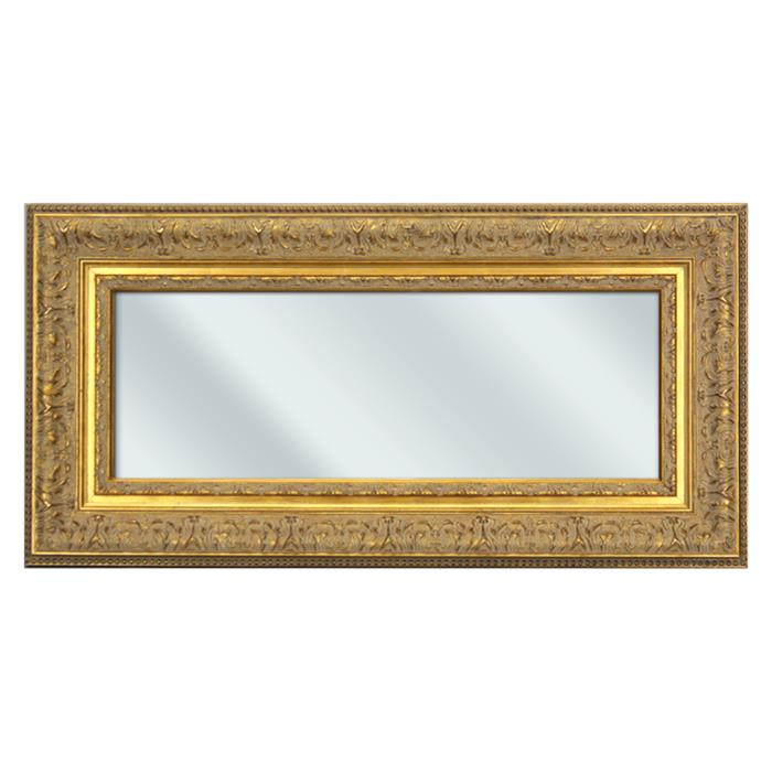 Baroque Gold Mirror with Floral Embellishments - 14⅜x28⅞"