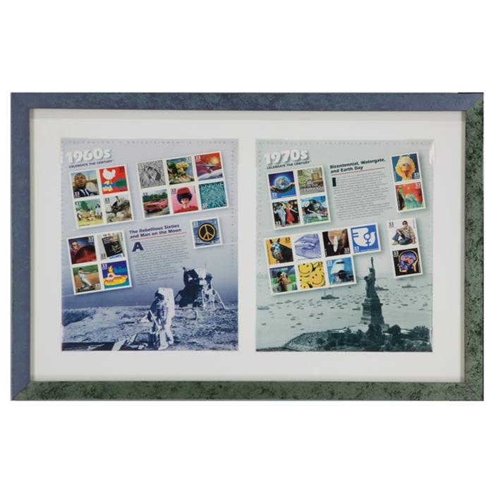 framed postage stampes from 1960's and 1970's